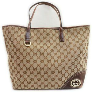 """Gucci Brown Monogram GG New Britt Tote 861210  """